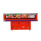Congélateur d'étalage de fruits de mer d'espace libre d'avant de porte en verre de glissement pour le supermarché