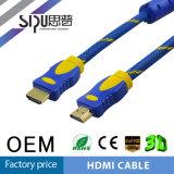 Ethernet plateada oro trenzado de nylon del soporte de cable de Sipu 24k HDMI