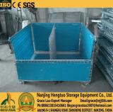 Gaiola dobrável de dobramento com os separadores para o armazenamento, gaiola da pálete do engranzamento de fio de aço do recipiente da cesta do engranzamento de fio