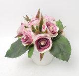Flores artificiales vendedoras calientes de Rose en el crisol plástico para la decoración en hogar/oficina