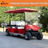 Роскошная тележка гольфа 6 пассажиров красного цвета электрическая, Sightseeing тележка гольфа, дешевая тележка гольфа для сбывания