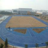 De blauwe RubberdieRenbaan van de Kleur voor Speelplaats wordt gebruikt