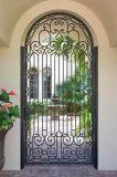 Buen precio del hierro labrado de la puerta moderna de la puerta