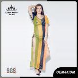 女性の対照カラーセクシーで高い側面スリット服