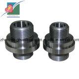 Часть CNC нержавеющей стали механически филируя поворачивая обрабатывая на токарном станке подвергая механической обработке с резьбой (ZH-MP-001)