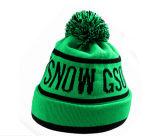 Tampão do Beanie do verde do Knit do esqui de 2016 formas com logotipo preto