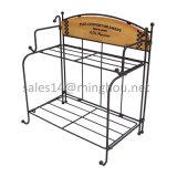 다중목적 Foldable 철 2 층 나무 및 테이블을%s 금속 화분 선반