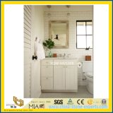 Bathroomのための白いWood Grainy Double Sink Marble Vanity Top