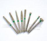 Alta calidad gruesa del anillo del color verde de los burs del diamante para el handpiece dental