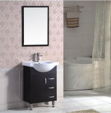 Einfache Auslegung PVC-Fußboden, der keramische Schüssel-Badezimmer-Eitelkeit steht