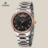 メンズ方法Leather&Steelバンドアナログの水晶円形Wristwatches72146