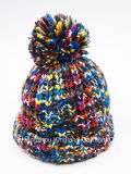 Fashion Warm Space-Dyed Multi-Color Knitted Hat com Pompom