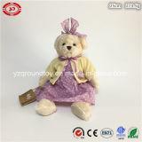 Orso dell'orsacchiotto con la peluche sveglia del sacchetto del feltro che si siede giocattolo molle