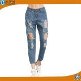 Кальсоны Jean джинсовой ткани женщин способа OEM голубые сорванные тощие