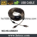 Чернота 20 метров кабеля USB PVC активно