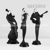 Musicians Fun Art Craft Escultura de estátua de preto e prata