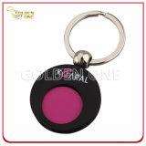 Изготовленный на заказ покрынный цветом держатель монетки вагонетки металла с ключевой цепью