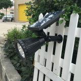 太陽エネルギーLED軽い屋外センサーの壁の庭のヤードの塀ランプの機密保護は景色のスポットライトをつける