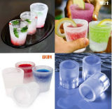 4 fabricante de vidro do cubo de gelo do silicone da forma das pilhas DIY, fabricante do tiro do gelo