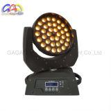 36 * 10W diodo emissor de luz in-1 do poder superior RGBW 4 com luz principal movente da função do zoom