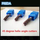 O ângulo de hélice de 45 graus utiliza ferramentas o profissional HRC55