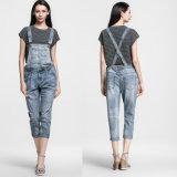 2016 calças de brim da sarja de Nimes dos macacões do algodão da forma das mulheres