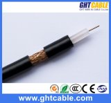 1.02mmccs, 4.8mmfpe, 64*0.12mmalmg, Od: 6.8mm Black PVC Coaxial Cable RG6