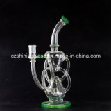 Tubi di acqua di fumo di alta qualità di Handblown di vetro all'ingrosso del riciclatore per tabacco
