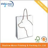 Bolsa de papel de la impresión blanca del perro que hace compras con la maneta (QY150302)