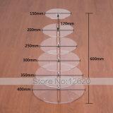 7 6 5 4 3つの層の透明な円の円形のアクリルのカップケーキタワーの立場の結婚式のバースデー・ケーキの版キャンデーのデザート鍋の装飾