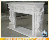 Carved White Marble Fireplaces with Figures and Flowers