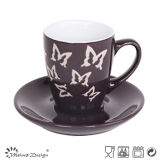 Engraved Butterfly Designの3oz Ceramic CupおよびSaucer