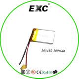 bateria do polímero do lítio 3.7V 303450 500mAh