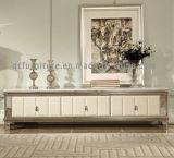 Weißer Marmor Fernsehapparat-Standplatz mit silberner Edelstahl-Rahmen-heißem Verkaufs-Modell