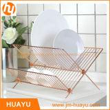 Petite crémaillère d'assiette d'or de l'en cuivre X d'étagère en acier pliable de la forme 2-Tier avec Drainboard