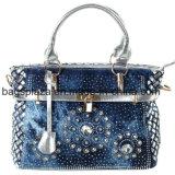 2016のファッション・デザイナーの銀ぱく袋/ショルダー・バッグ、ロック(HD26-006)が付いている青いデニムのハンドバッグ