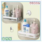 Crémaillère d'essuie-main blanche fixée au mur de chariot de douche d'étagère de coin de salle de bains d'ABS