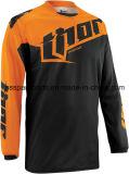 Motociclo arancione della maglietta di guida che attraversa il paese di colore che corre la Jersey (MAT59)