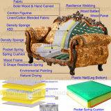 Sofa de tissu avec le bâti de sofa et le Tableau en bois de côté (D929)