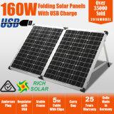 160W, das Monosolarbaugruppen-flexiblen Sonnenkollektor mit justierbarem Halter faltet