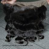 Frontal de lacet du cheveu 13X4 de bonheur trois/libres/partie moyenne de dessus de lacet d'onde de face suisse de corps de Vierge de cheveux humains de parties brésiliennes de frontal