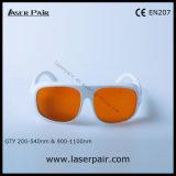 Marco simple blanco 52 2 de la línea anteojos 200-540nm y 900-1100nm /Typical de las gafas de seguridad de laser de YAG y de Ktp/protección para 532nm y 1064nm