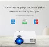 Micro mini LED proiettore autoalimentato USB di vendita caldo di HD dei proiettori di sostegno astuto con il sistema Android