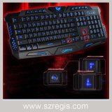 Tri-Color Glare Backlit Gaming USB Computador Teclado multimídia