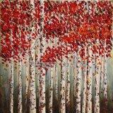 100% handgemachte Ölgemälde-Wand-Kunst für silberne Birke