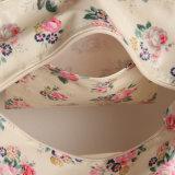 白い防水レトロの花PVCキャンバスのハンドバッグ(6818)