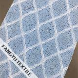 복장을%s 밝은 파란색 교차하는 줄무늬 레이스 직물