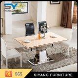 Acero inoxidable muebles de comedor mesa conjunto tabla de mármol