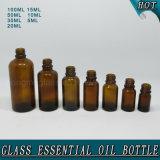 Bernsteinfarbige kosmetische Glastropfenzähler-Flaschen für wesentliches Öl