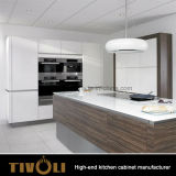 2017光沢のある白い卸し売り食器棚Tivo-0059Vを混合する新しいクルミのベニヤ